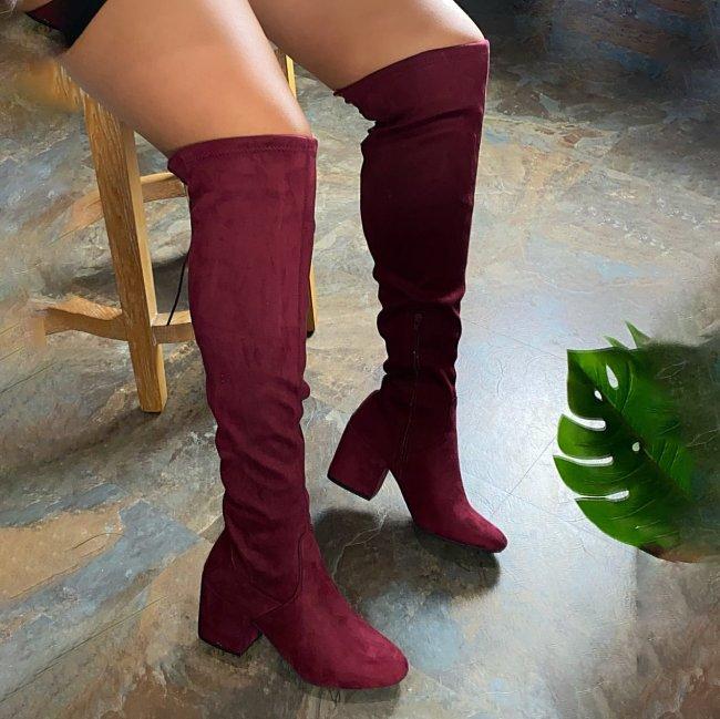 Winter Leather Block Heel Booties