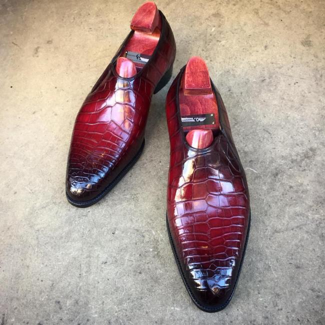 Handmade Men's Leather Bowknot Slip-On Shoes