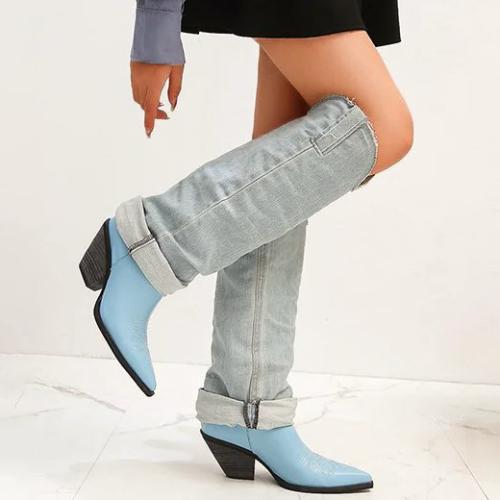 Pointed Thick Heel Denim Medium Sleeve Korean Skinny Boots