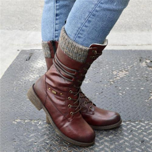 Round Toe Thick Heel Wool Neckline Side Zipper Boots