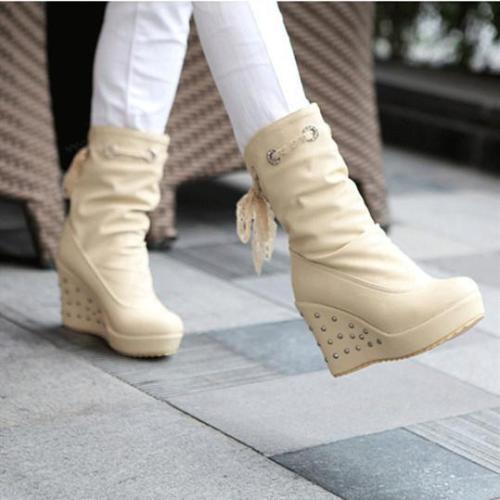 Fashion wedge heel lace high heel women's boots