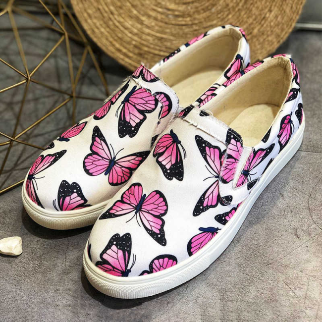 Women Slip On Butterflies Casual Loafers