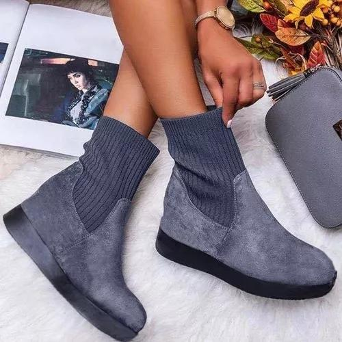 Women's Ankle Boots Round Toe Nubuck Flat Heel Boots