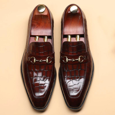 Stylish Business Men'S Pointed Leather Flat Shoes