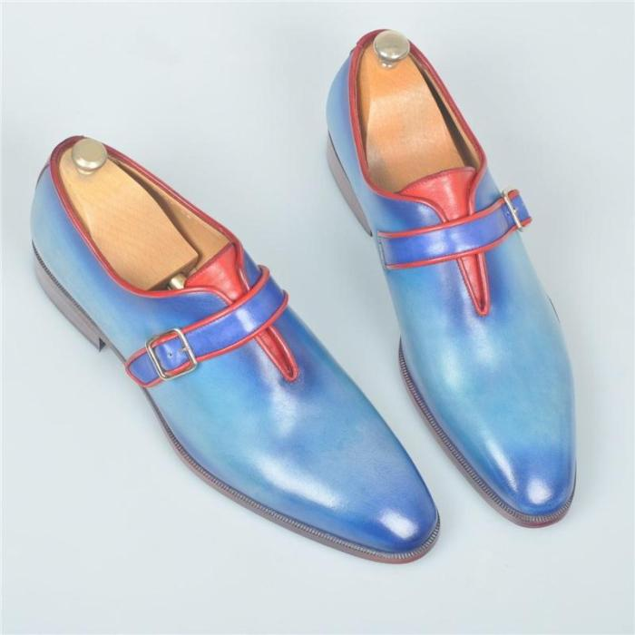 Handmade Luxury Blue Monkstrap With Red Trim Mens Leather Shoes