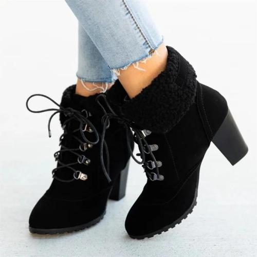 High Heel Outdoor Winter Faux Suede Boots