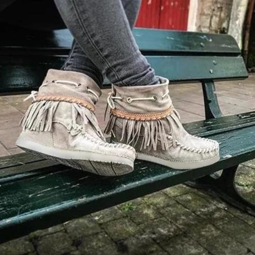 Suede Tassel Flat Heel Boots