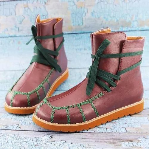 Women's Lace-up Ankle Boots Round Toe Flat Heel Boots