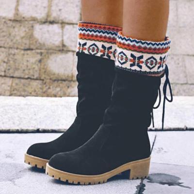 Women Nation Christmas Chunky Heel Warm Boots