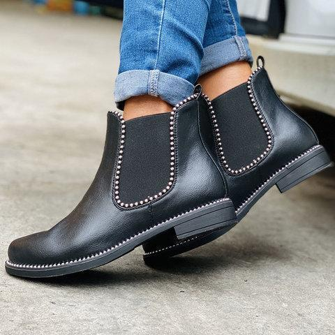 Low Heel Artificial Leather Rivet Boots