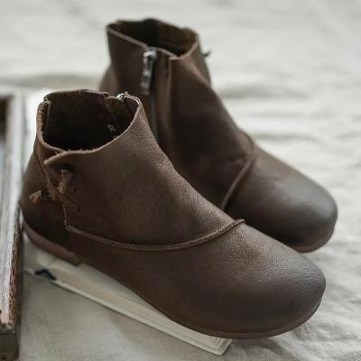 Daily Leather Low Heel Boots