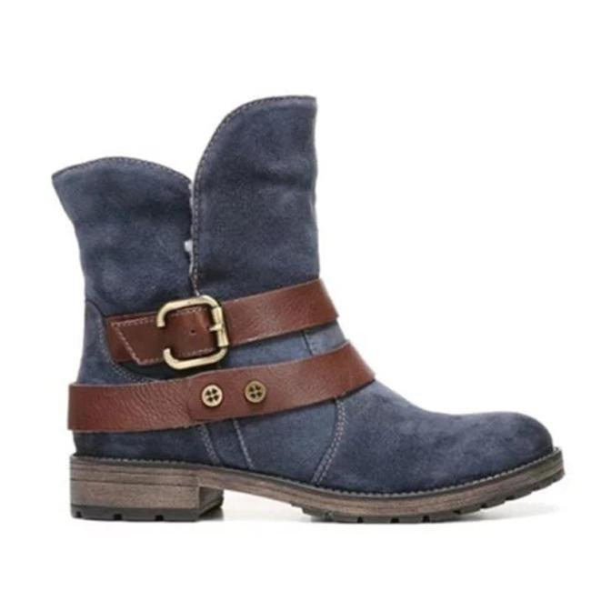 Women Winter Slip-On Button Suede Ankle Boots