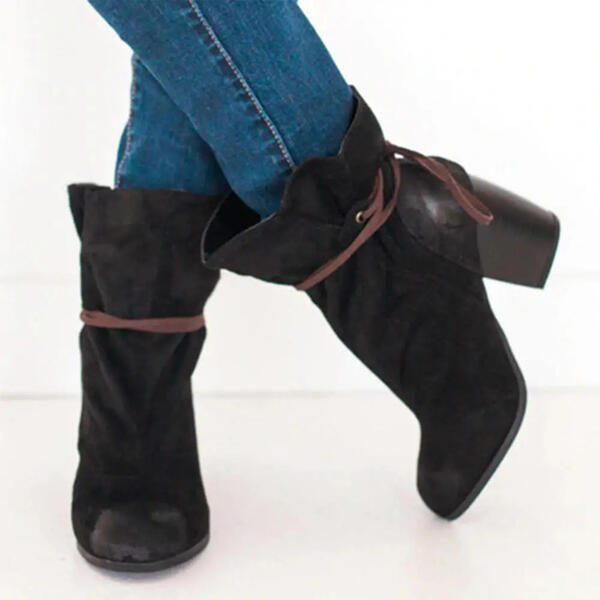 Women's Suede Chunky Heel Martin Boots Round Toe With Lace-up shoes