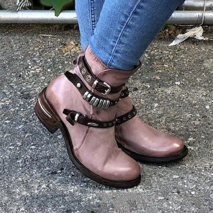 NEW! Women's PU Round Toe With Buckle Zipper shoes