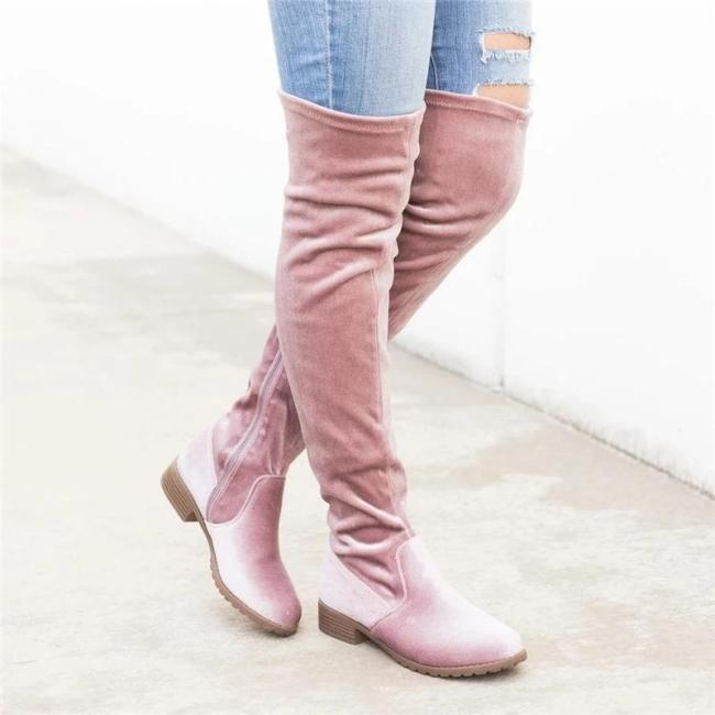 Knee Height Zipper Slouch Boots Pure Color Boots Shoes