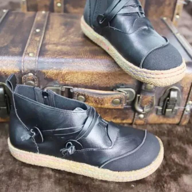 Autumn Leather Flat Boot