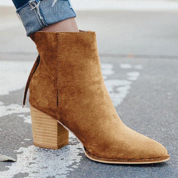 NEW! Women's Suede Chunky Heel Ankle Boots