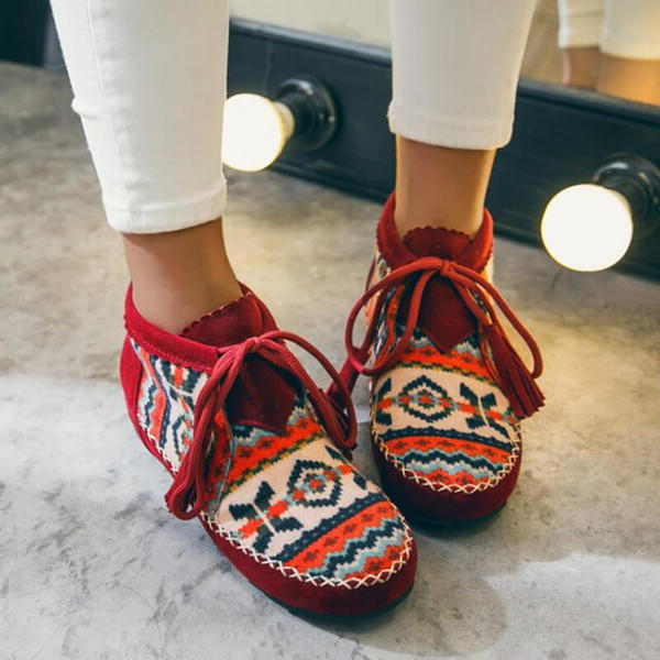NEW! Women's Suede Flat Heel Flats With Splice Color Bandage shoes