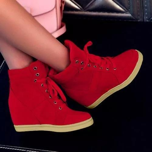 Women's Lace-up Wedge Heel Boots