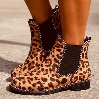 Low Heel Artificial Leather Rivet Boots