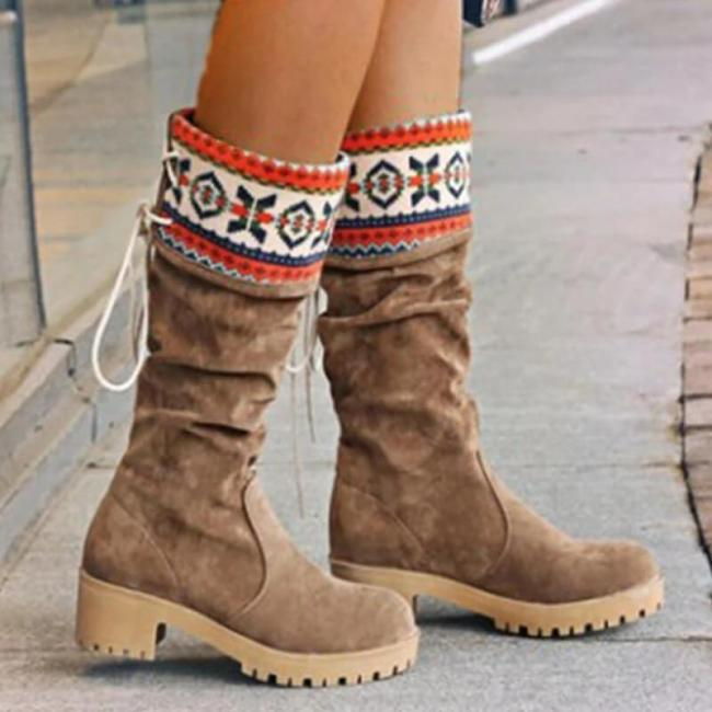 Women Nation Christmas Chunky Heel Warm Boots