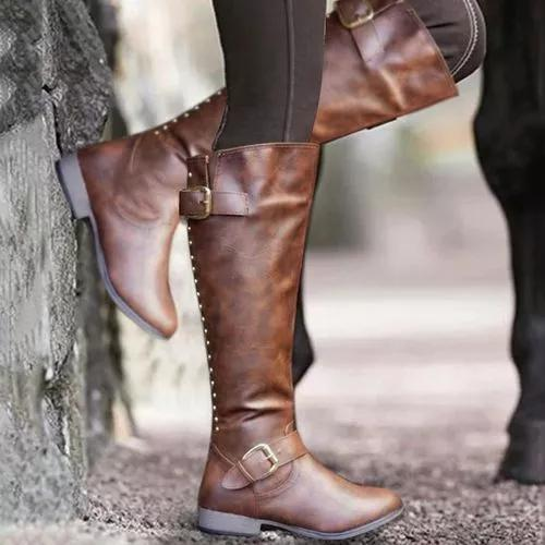 Women's Buckle Zipper Knee High Boots