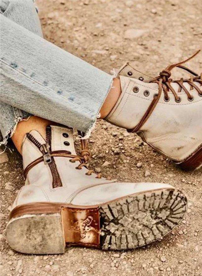 Women Solid Lace-up Flat Side Zipper Martin Boots