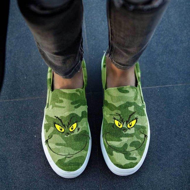 Grinch Flat Heel Canvas Flats