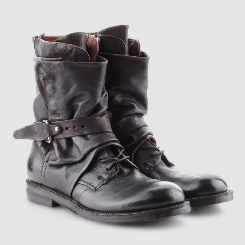 Men's Faux Leather Vintage Side Zipper Buckle Martin Booties