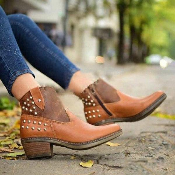Rivet Round Toe Ankle Zipper Matin Boots