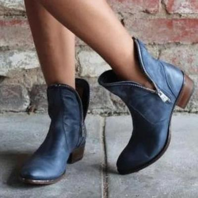 Women's Zipper Ankle Boots Low Heel Boots
