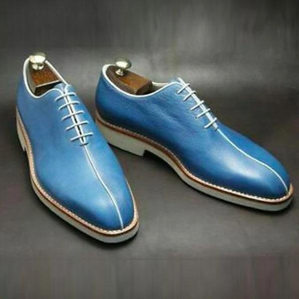 Vintage Blue Handmade Brogue Formal Shoes