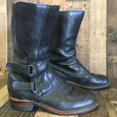 Men's Vintage Leather Low Heel Boots
