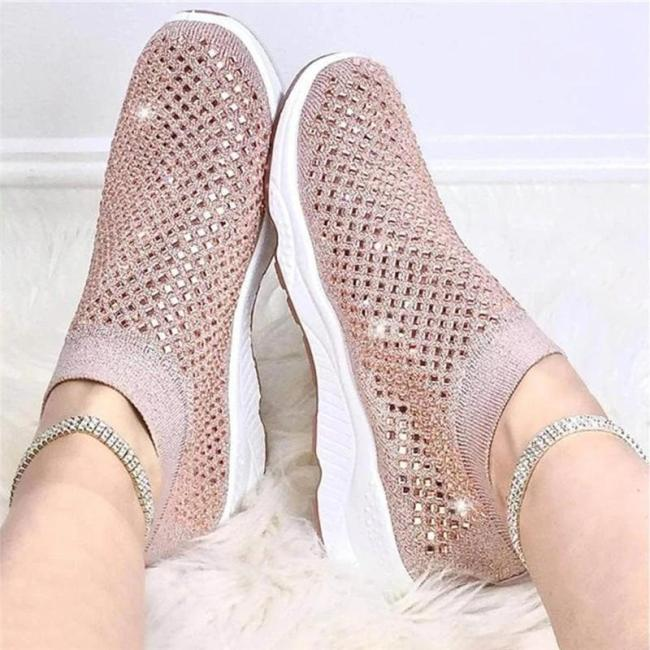 Womens Glitter Encrusted Breathable Comfort Sneakers