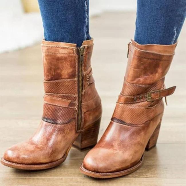 Women's retro Chunky Heel Boots