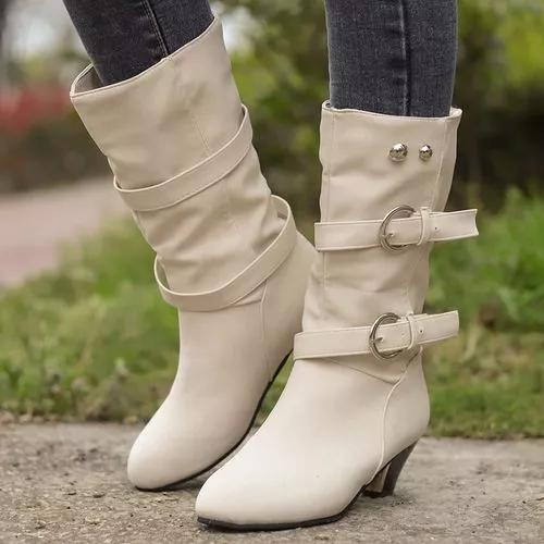 Women's Rivet Buckle Mid-Calf Boots