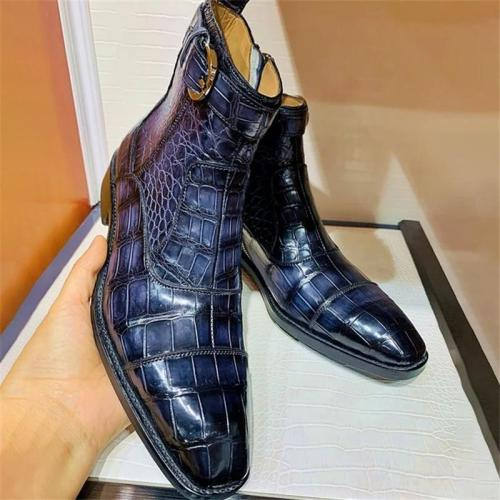 High Heel Side Round Buckle Blue Alligator Pattern Dress Shoe Boots