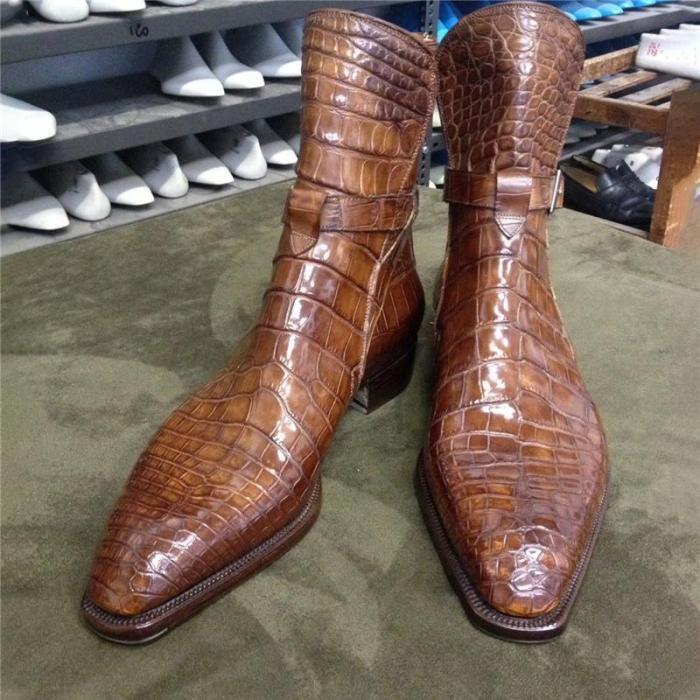 Brown Crocodile Print Senior Men'S Boots