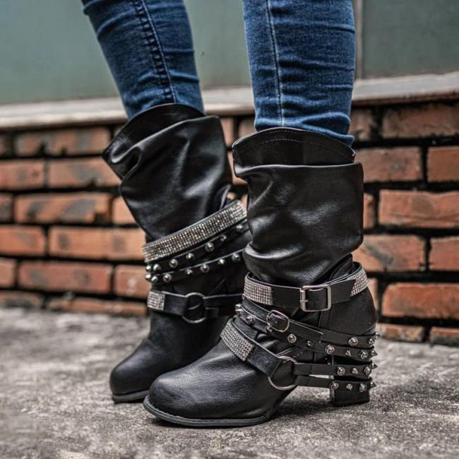Women Fashion Rhinestone Rivet Kitten Heel Slip On Wide Calf Mid-calf Boots
