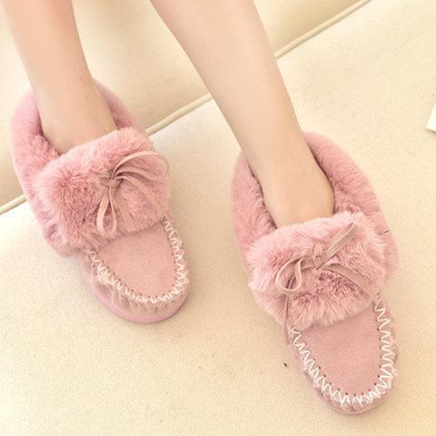Women Warm Snow Bowknot Booties Casual Shoes