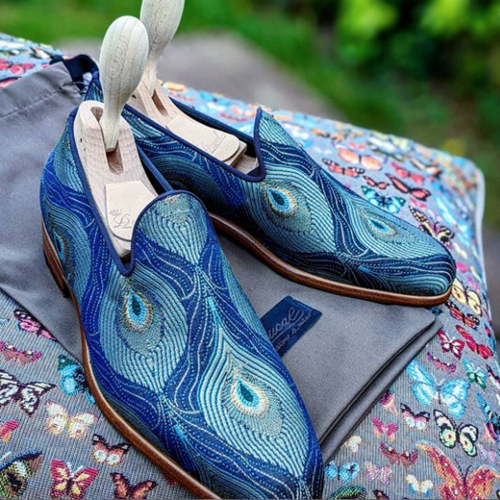Blue Peacock Pattern Slipon Loafers