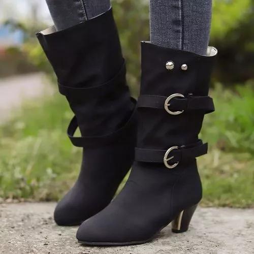 Women's Rivet Buckle Mid-Calf Boots
