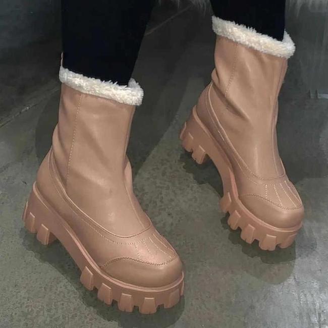 Women Slip On Platform Chunky Heel Warn Inner Fur Snow Boots