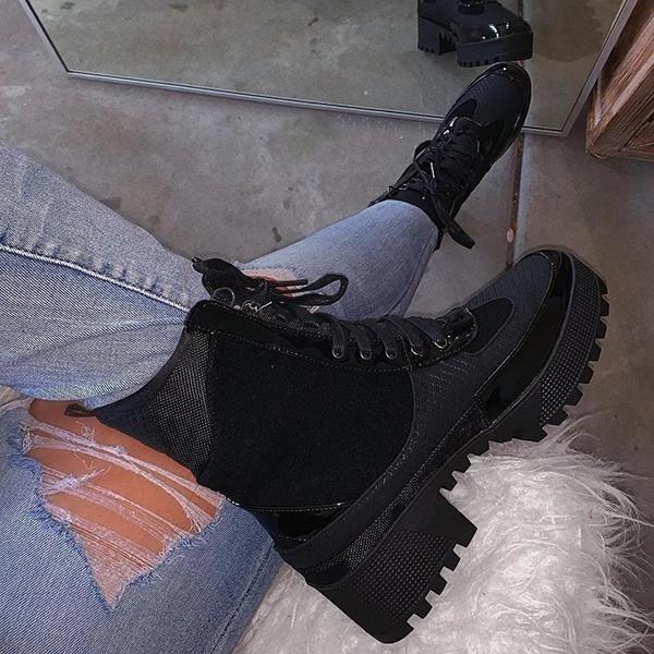 Platform Patchwork Color Block Boots
