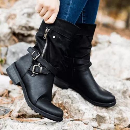 Women's Buckle Zipper Mid-Calf Boots Round Toe Low Heel Boots