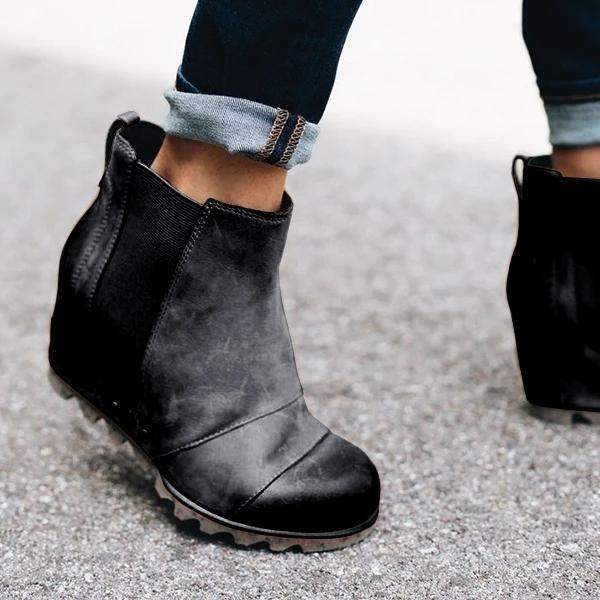 Women Winter Slip On Wedge Boots