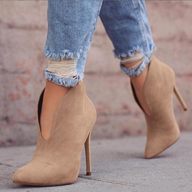 Ankle Boots Pointed Toe V Shape Cut Suede Pumps