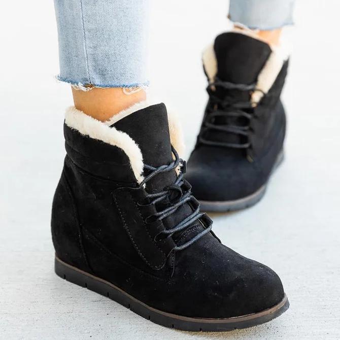 Wedge Heel Winter Leather Boots