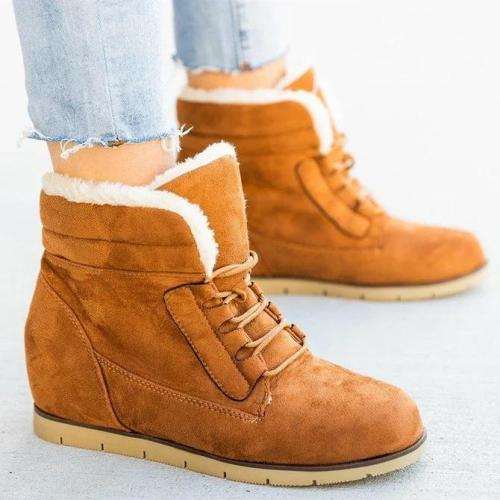 Wedge Heel Winter Leather Boots