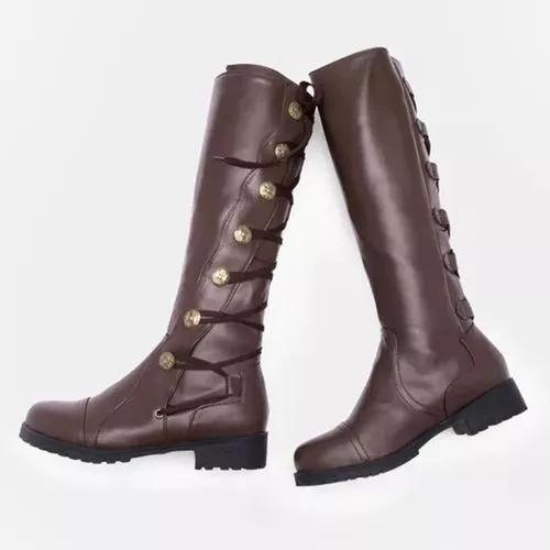 Women's Button Mid-Calf Boots Low Heel Boots